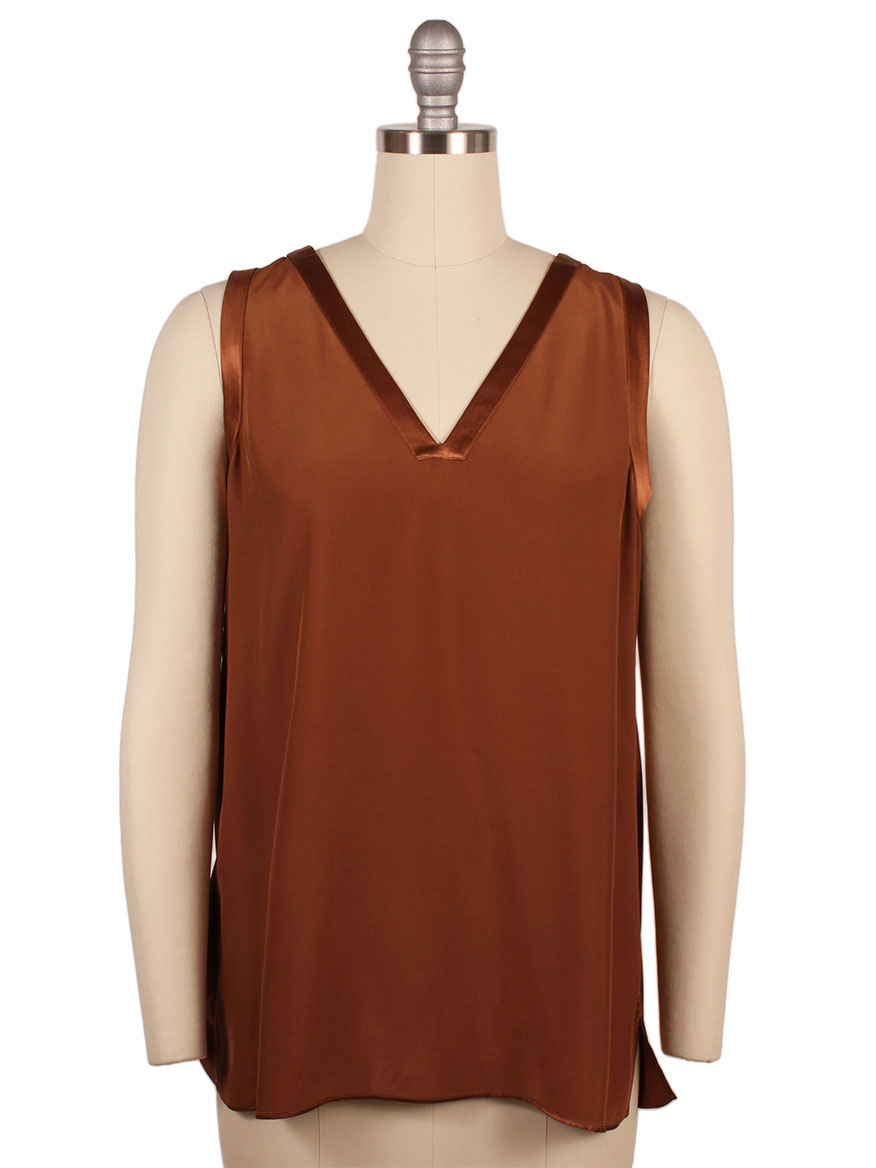 Lafayette 148 New York Gretchen Reversible Silk Charmeuse Blouse in Ochre