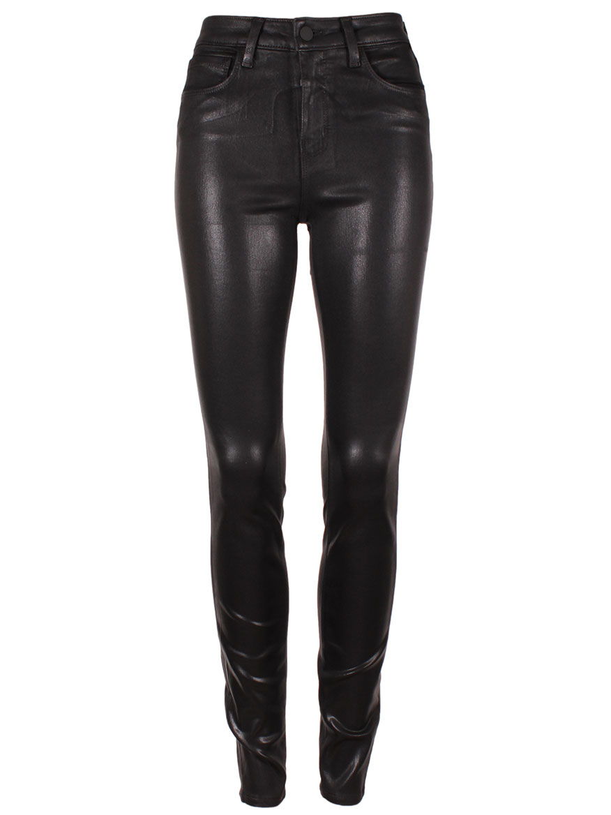 L'Agence Marguerite High Rise Skinny in Coated Black