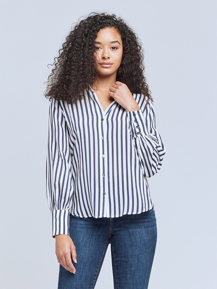 Buy Jess Blouse Ivory/Navy Tops Larrimors.com
