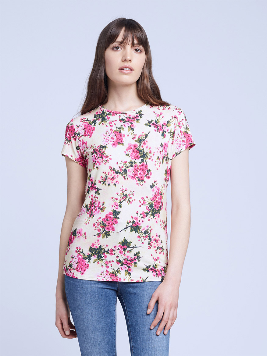 Buy Ressi Crew Fuchsia Tan Tops Larrimors.com