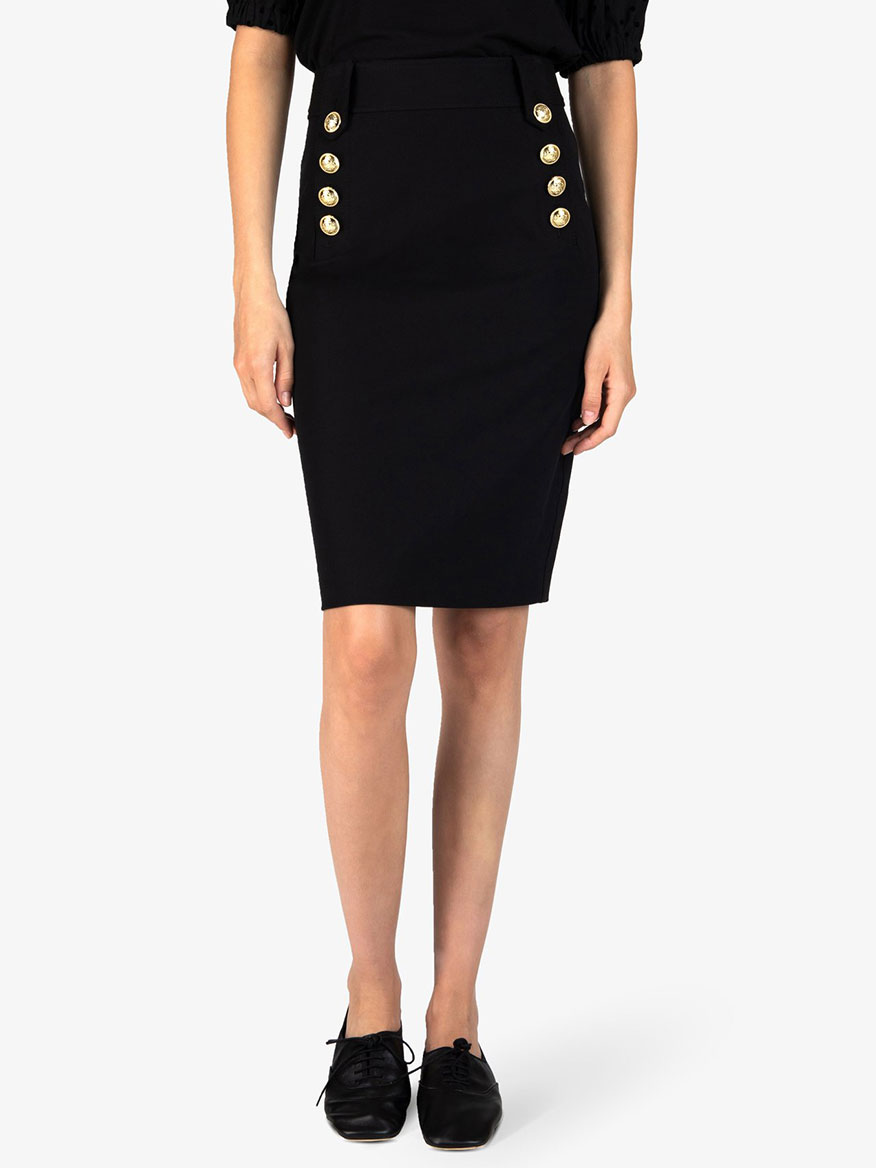 Derek Lam 10 Crosby Lenox Pencil Skirt With Sailor Buttons in Black