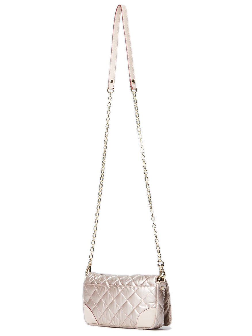 MZ Wallace Crosby Convertible Wristlet in Rose Gold Metallic Oxford