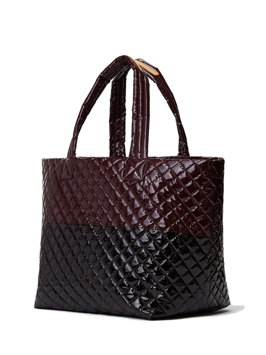MZ Wallace Large Metro Tote in Port & Black Lacquer Oxford Colorblock