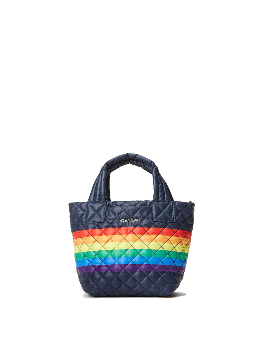 MZ Wallace Mini Metro Tote Deluxe in Dawn Rainbow Stripe Oxford