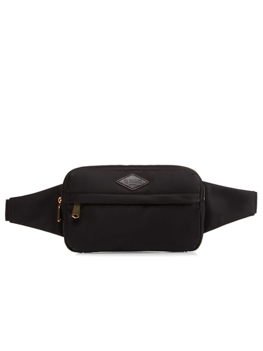 MZ Wallace Soho Belt Bag in Black Bedford with Gold Hardware