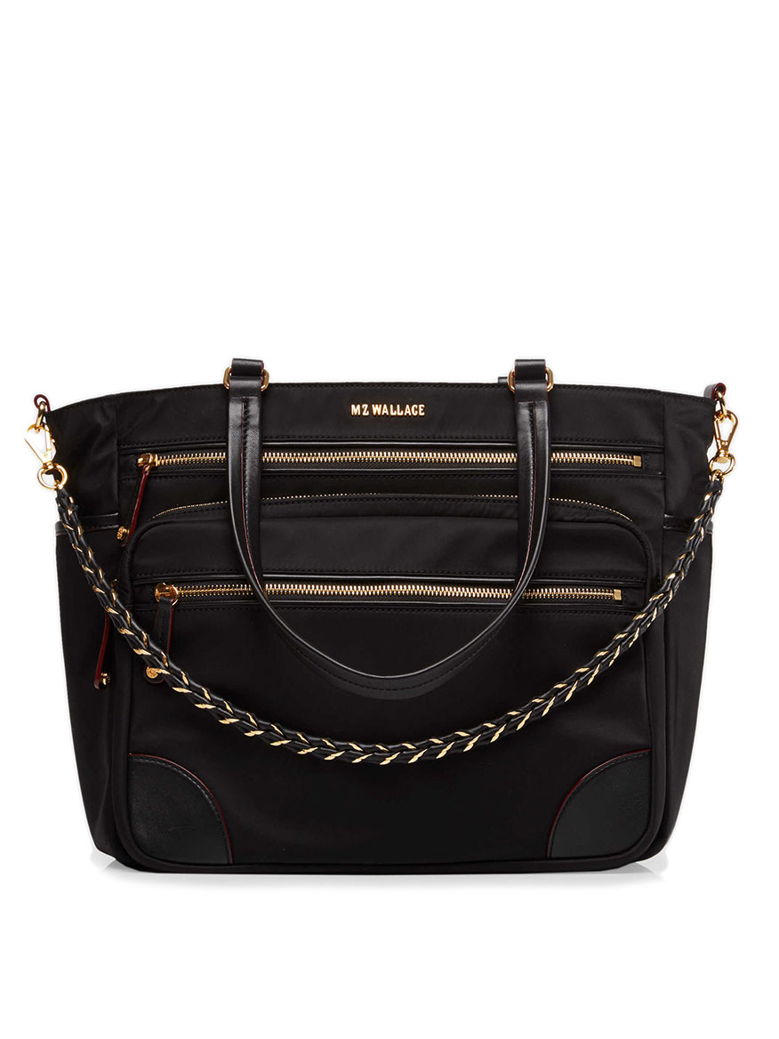MZ Wallace Tribeca Tote in Black Bedford with Gold Hardware