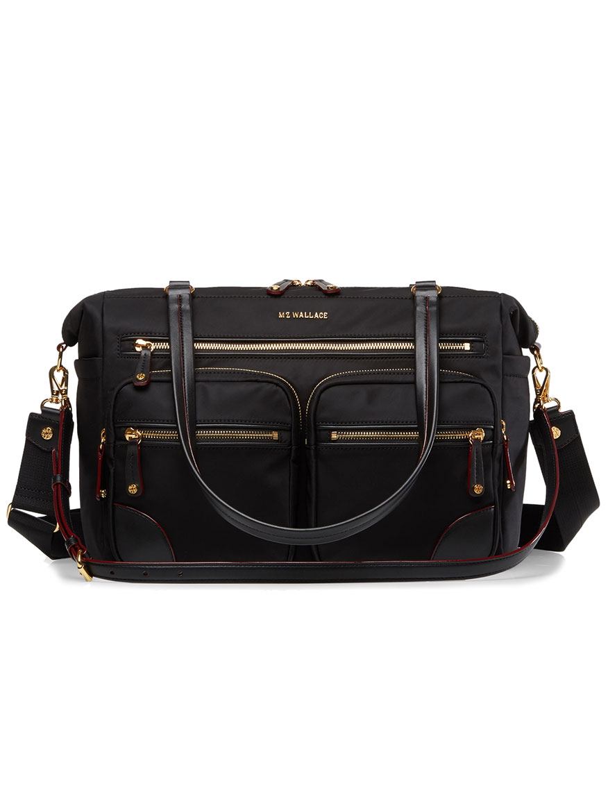 MZ Wallace Tribeca Traveler in Black Bedford with Gold Hardware