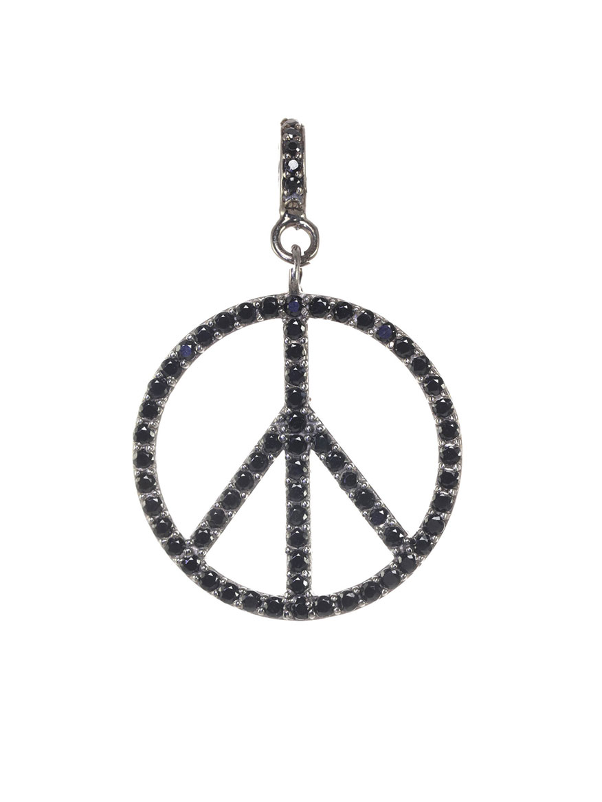 Buy Black Spinel Peace Sign Charm Jewelry Larrimors.com