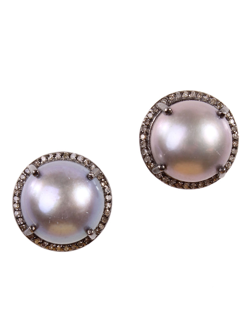 Grey Freshwater Pearl Earrings With Diamonds