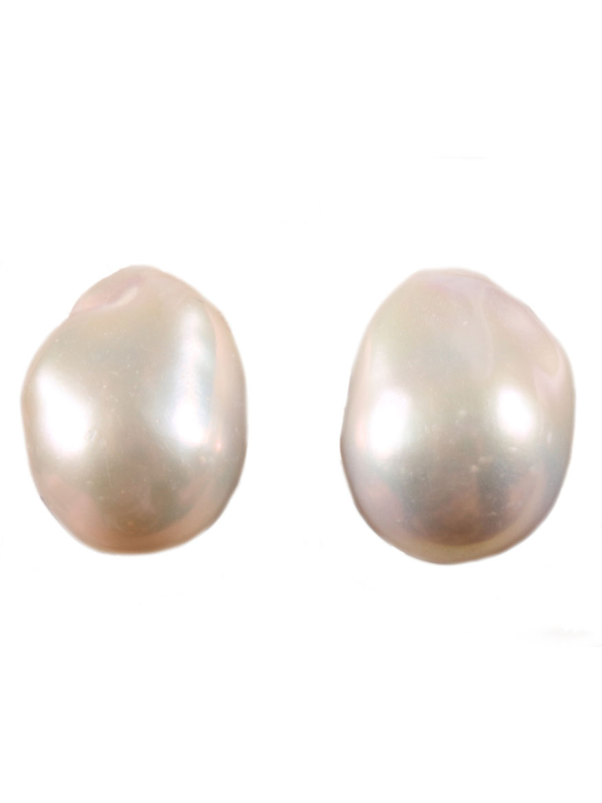 White Baroque Pearl Clip Earrings