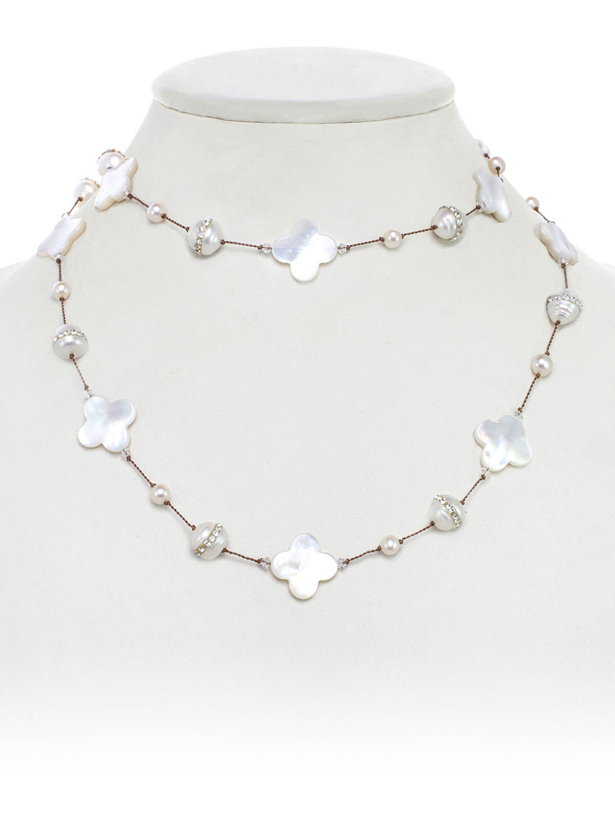 Margo Morrison Mother-of-Pearl Clover Necklace with Crystallized Pearls