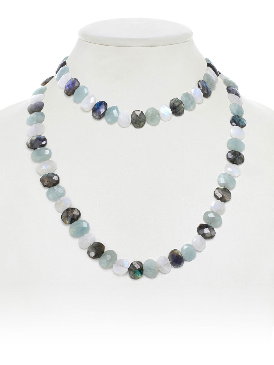 Margo Morrison Flat Faceted Mixed Gemstone Necklace