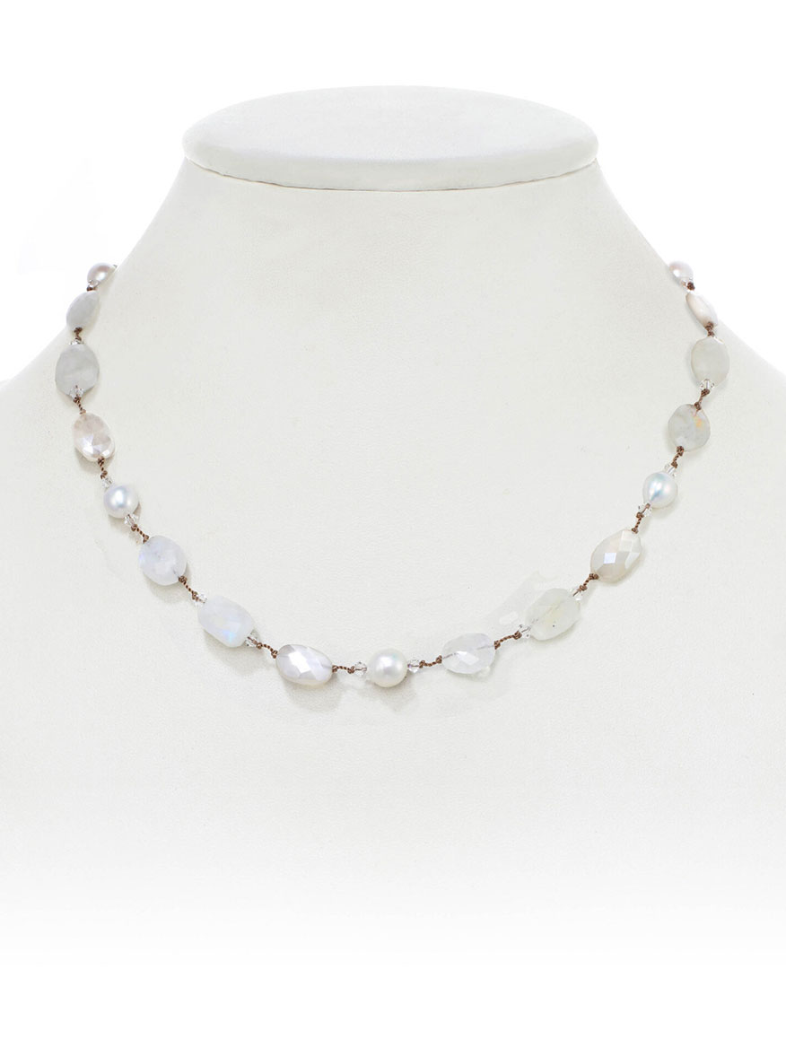 Margo Morrison Moonstone and Pearl Adjustable Necklace
