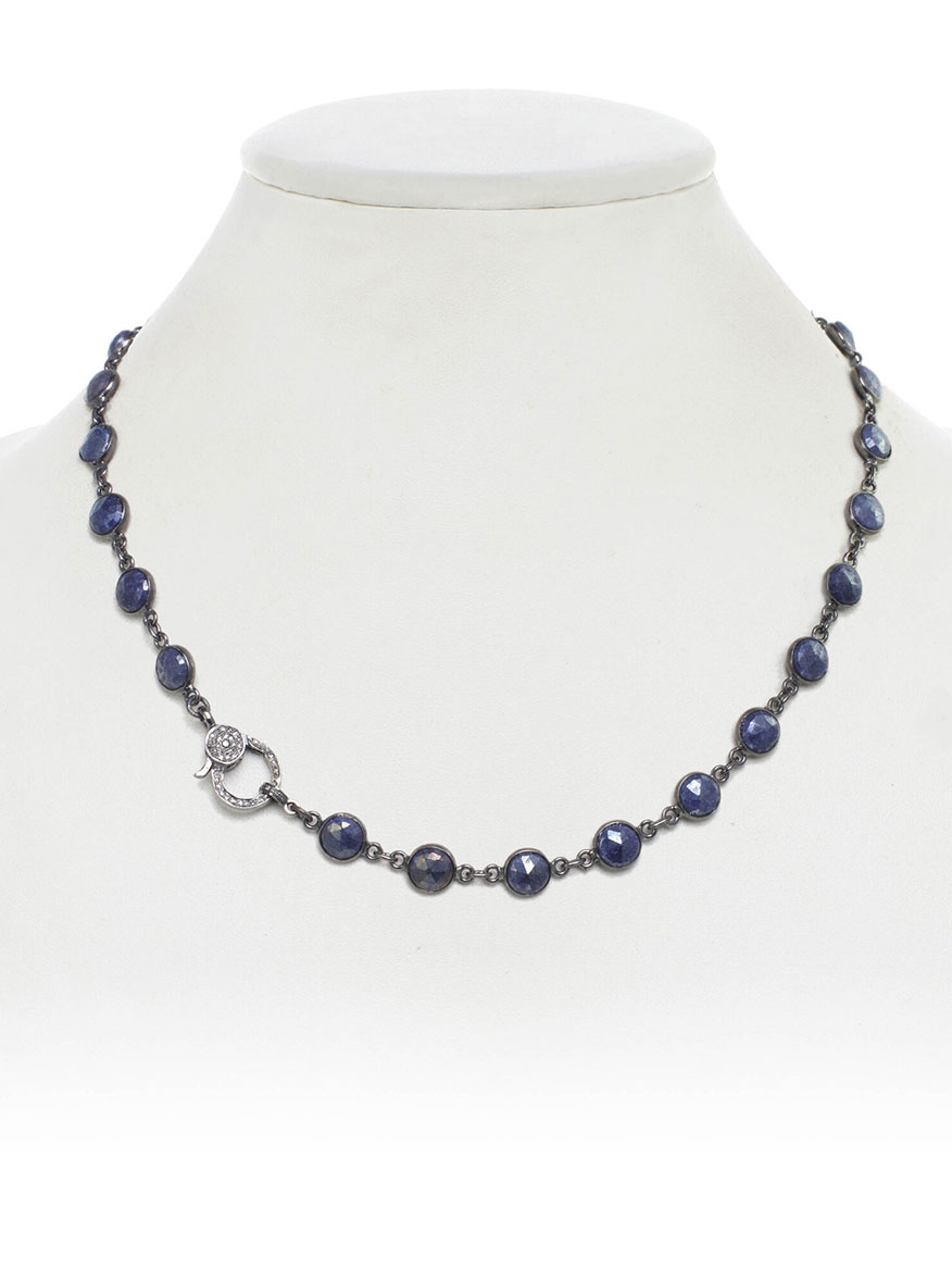 Margo Morrison Mystic Blue Moonstone Necklace with Diamond Clasp
