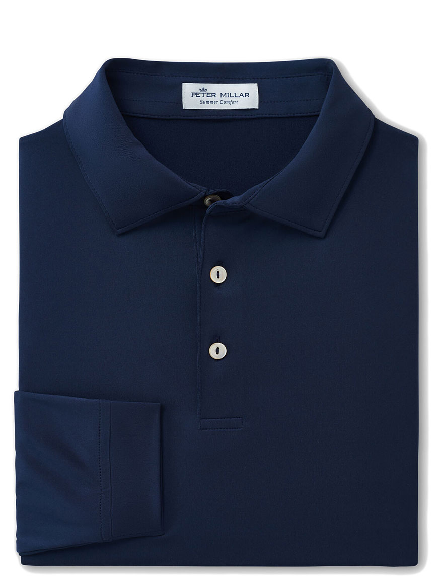 Buy Solid Stretch Jersey Long Sleeve Polo Navy Polo Shirts Larrimors.com