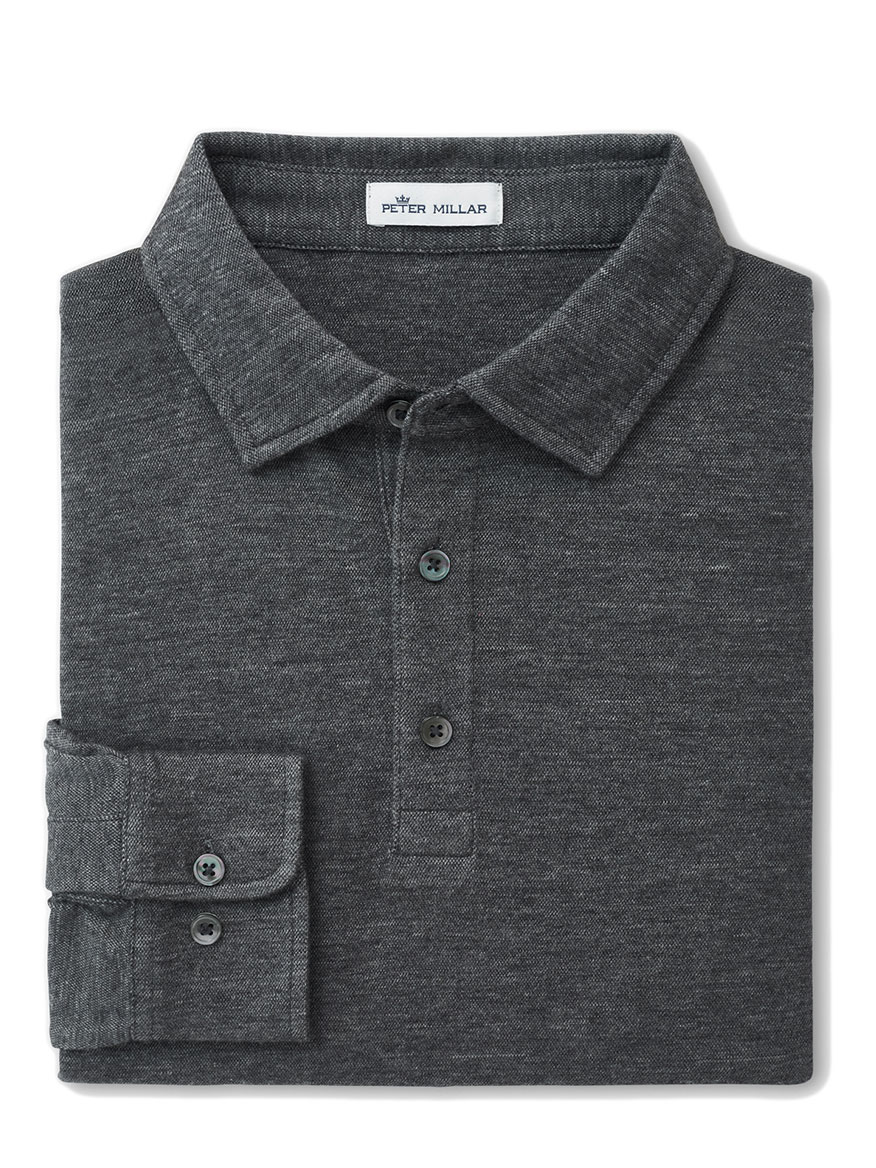 Buy Crown Fleece Birdseye Polo Grey Polo Shirts Larrimors.com