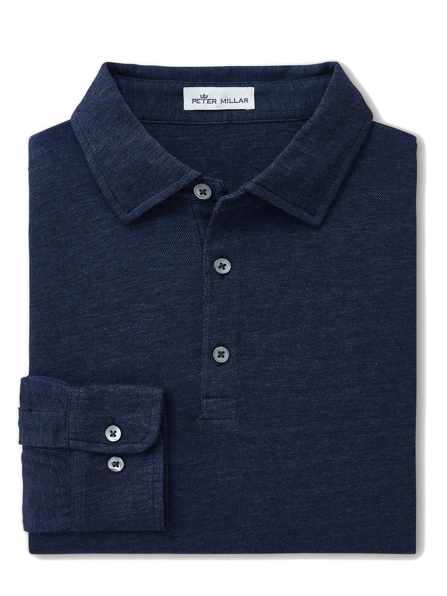 Buy Crown Fleece Birdseye Polo Blue Polo Shirts Larrimors.com