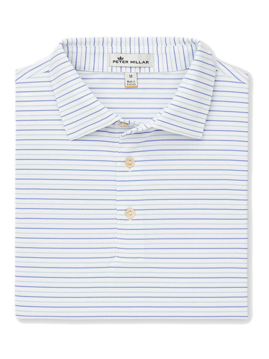 23f55ff1 Peter Millar Peace Stripe Stretch Mesh Polo in White/Vessel | Larrimor's