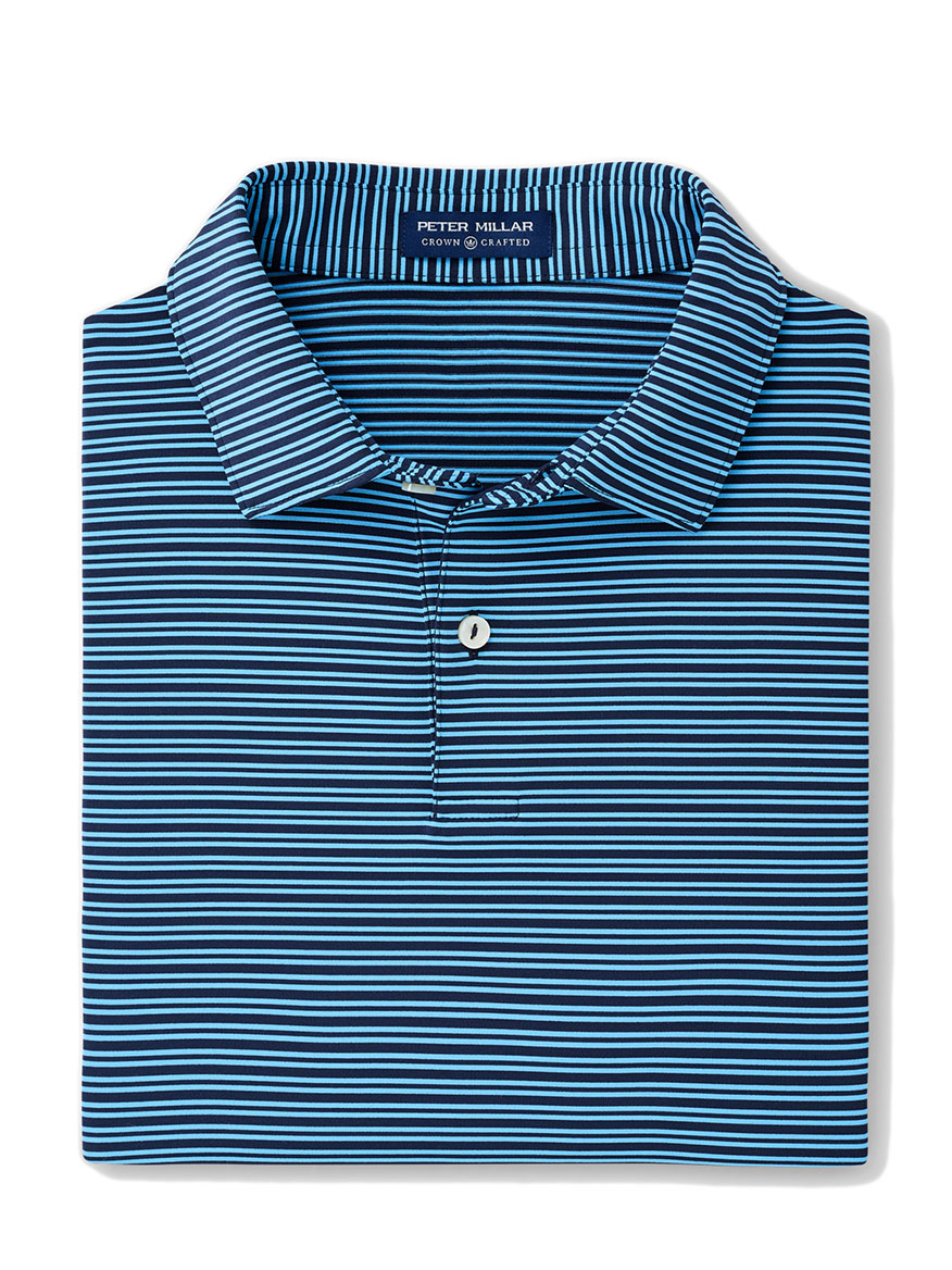 Peter Millar Coltrane Performance Polo in Navy Stripe