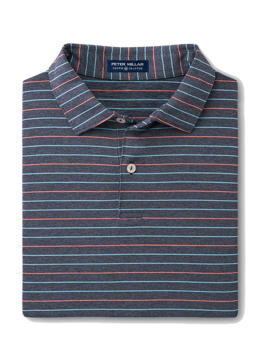 Peter Millar Jolson Performance Polo in Navy Stripe