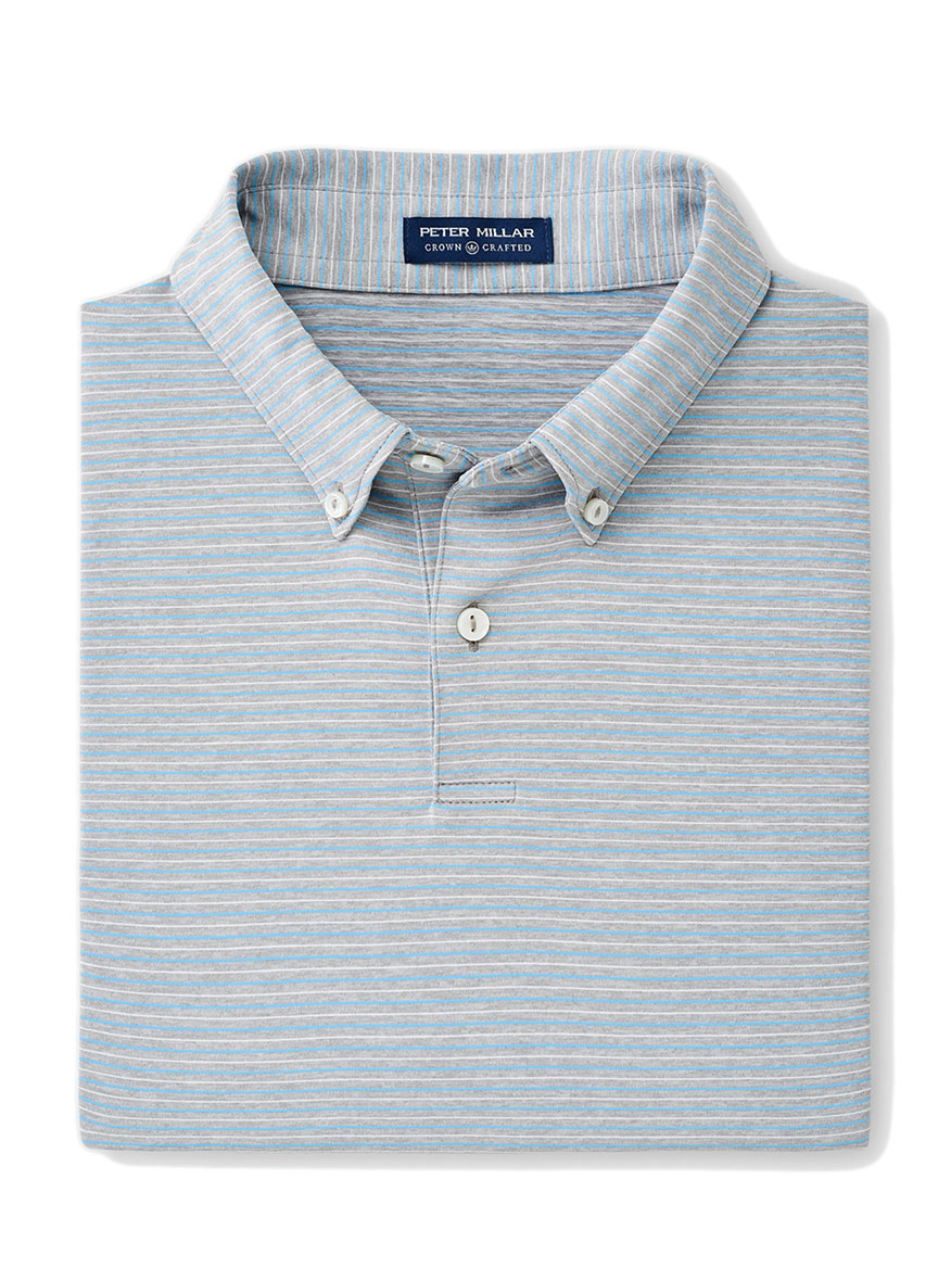 Peter Millar Sonny Performance Polo in Gale Grey Stripe