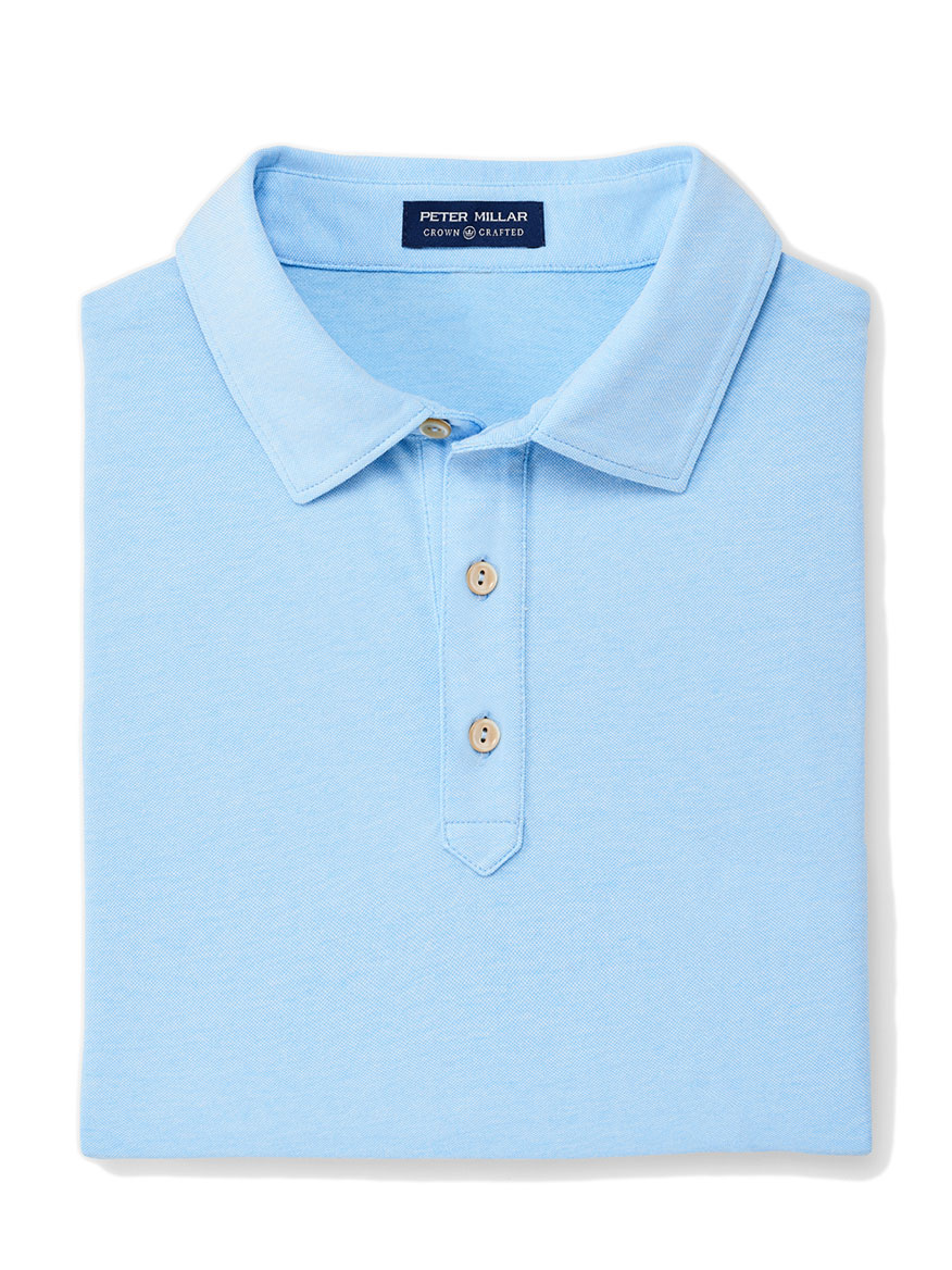Peter Millar Ace Cotton-Blend Pique Polo in Cannes Blue