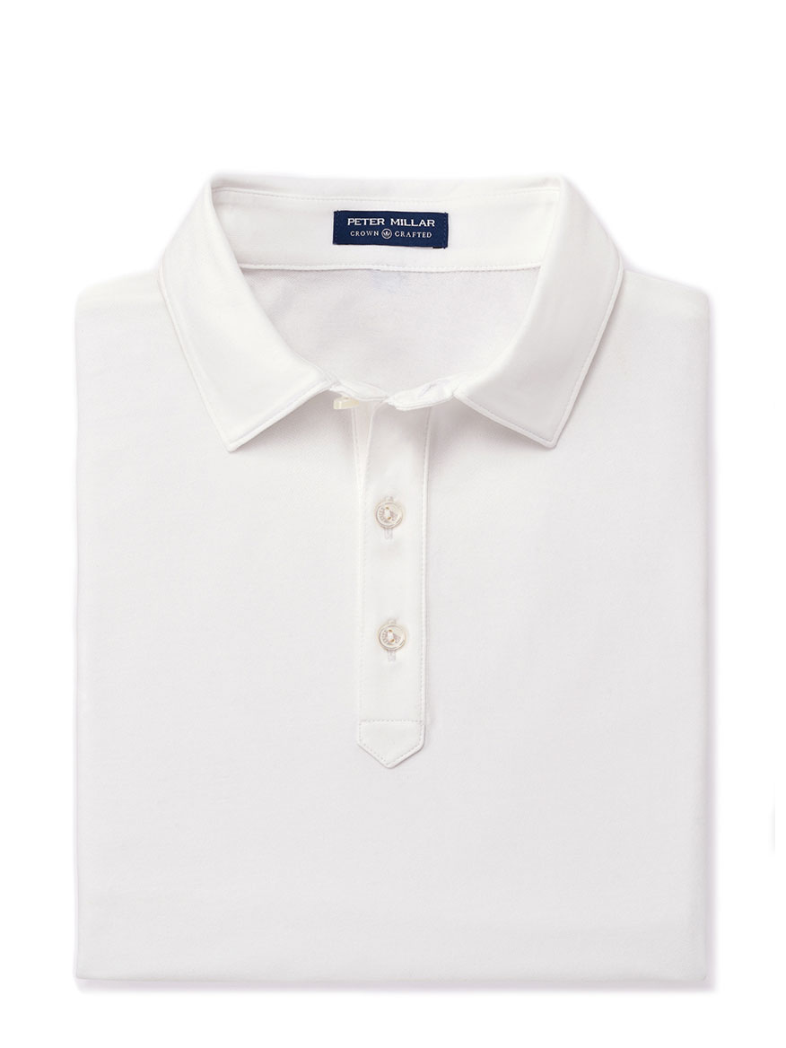 Peter Millar Ace Cotton-Blend Pique Polo in White