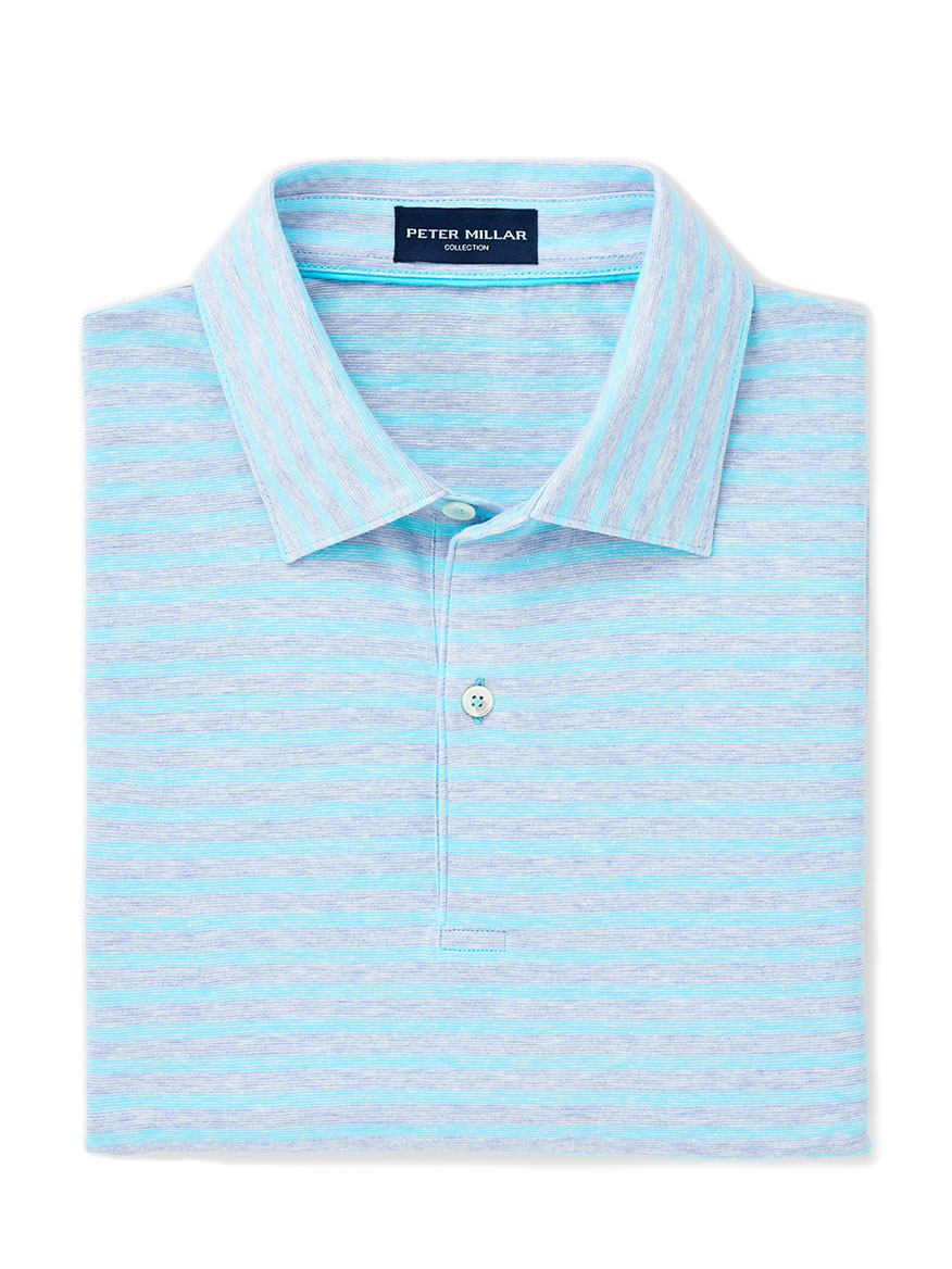 Peter Millar Solstice Cotton-Linen Polo in Menthe-Blue Cielo