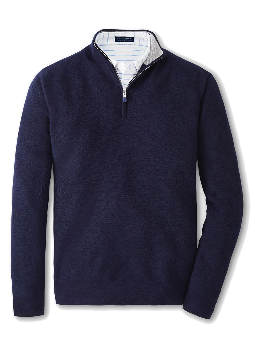 Buy Victory Cashmere Quarter-Zip Navy Sweaters Larrimors.com