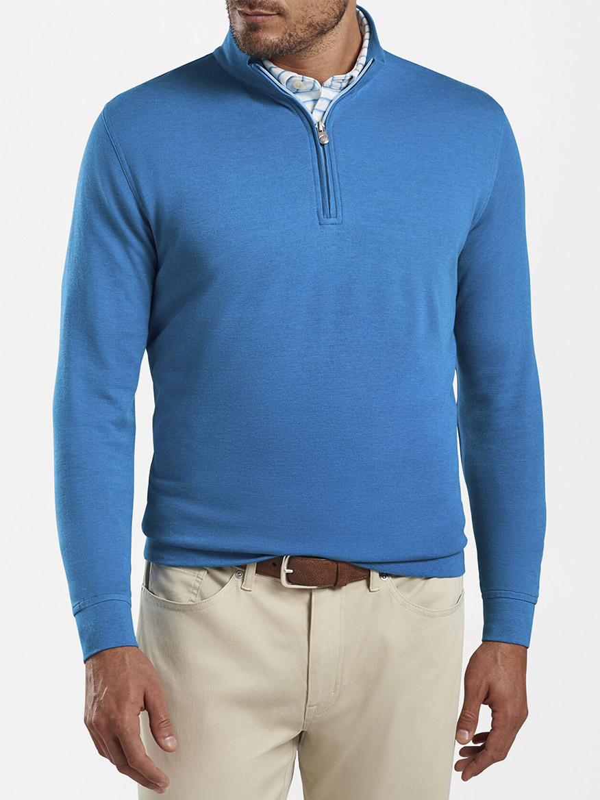 Peter Millar Crown Comfort Interlock Quarter-Zip in Blue River