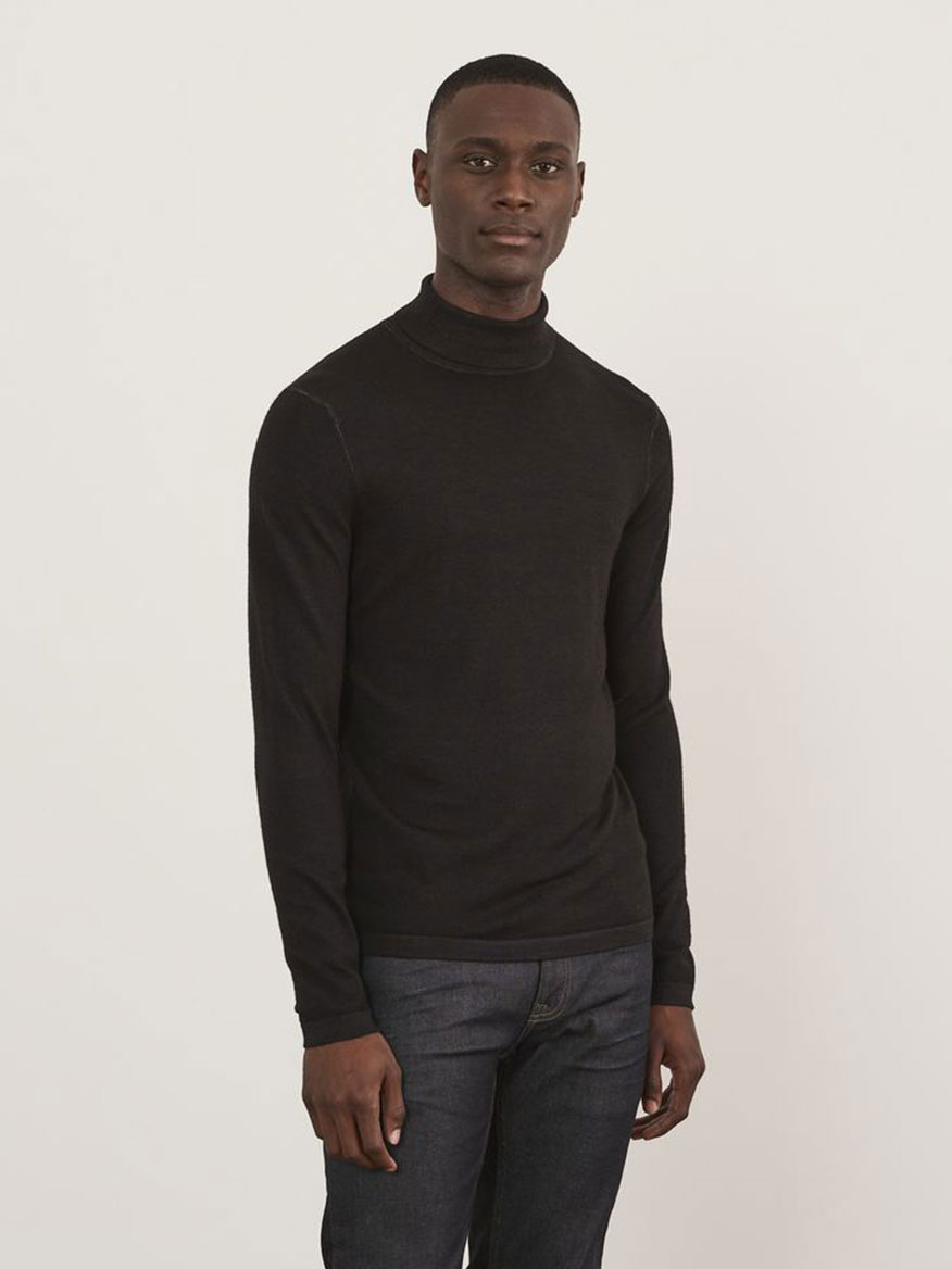 Merino Vintage Wash Turtleneck Black Sweaters Larrimors.com