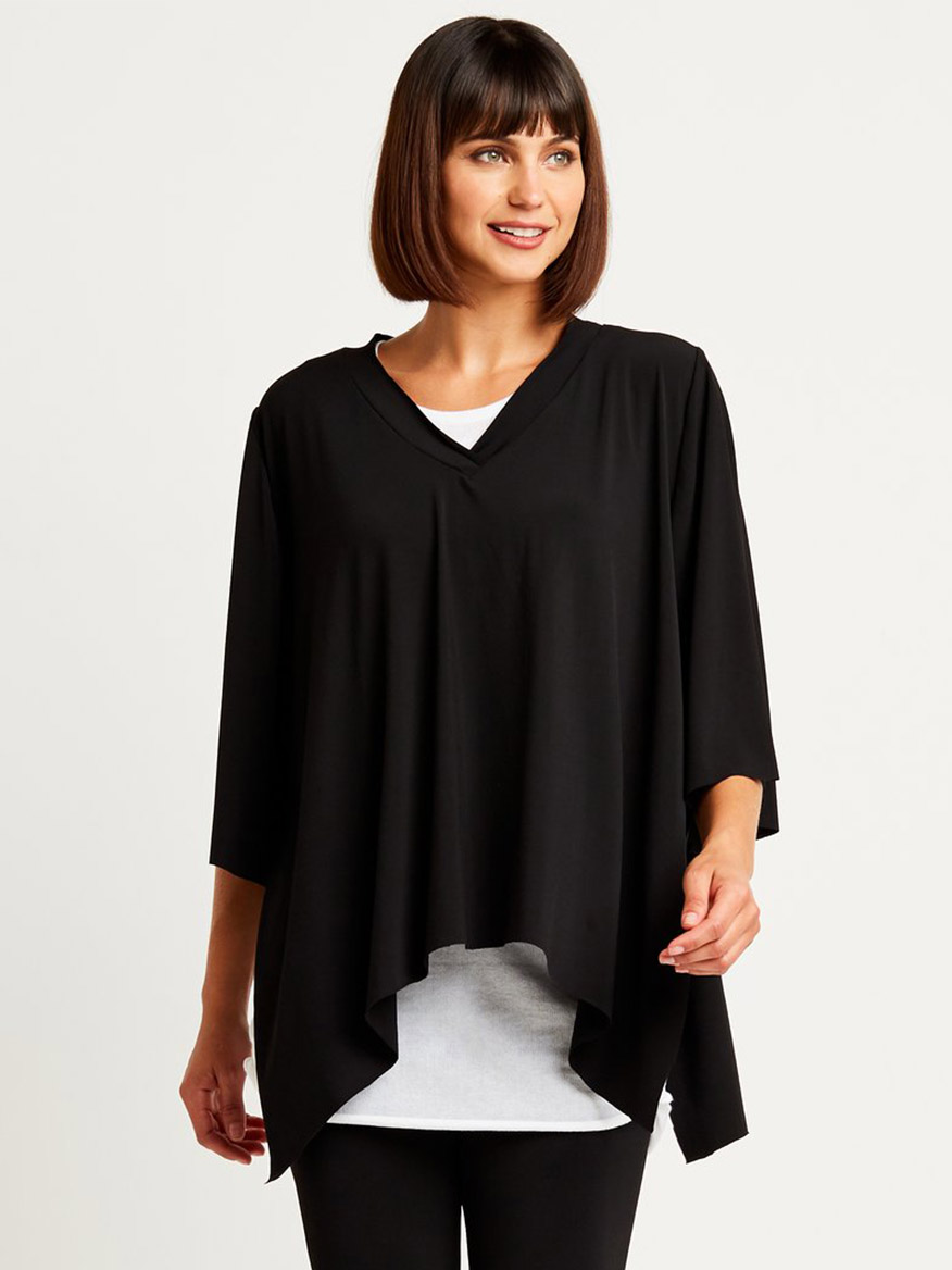 Buy Matte Jersey Poncho Top Black Tops Larrimors.com