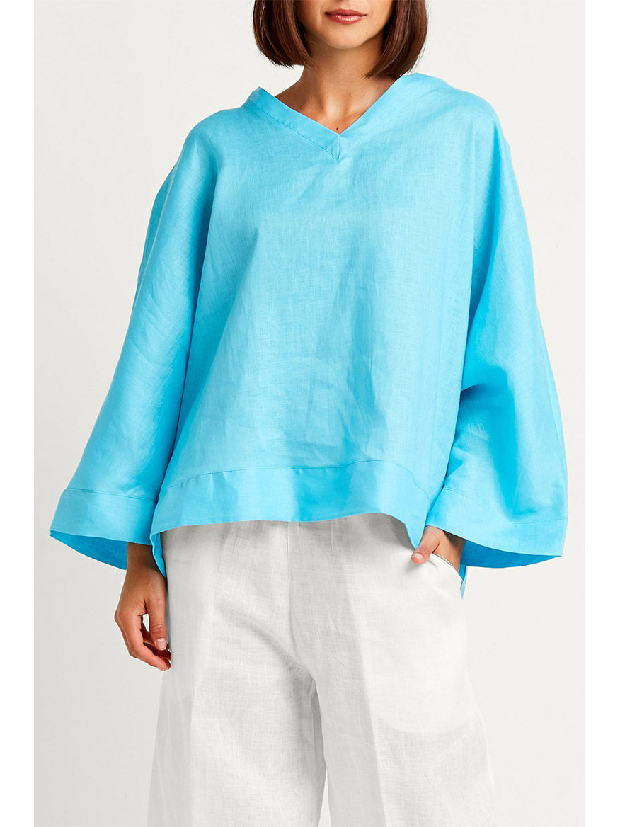 Planet by Lauren G Handkerchief Linen Fab Top in Aqua
