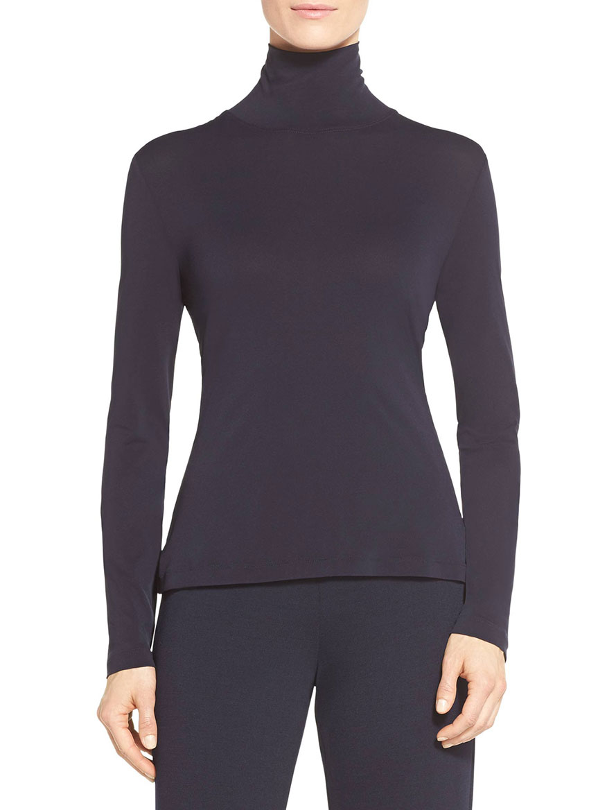 St. John Long Sleeve T-Neck Shell in Navy