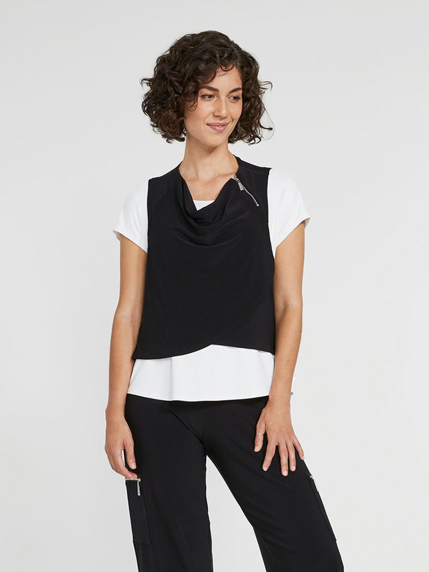 Buy Zest Crop Smock Black Tops Larrimors.com