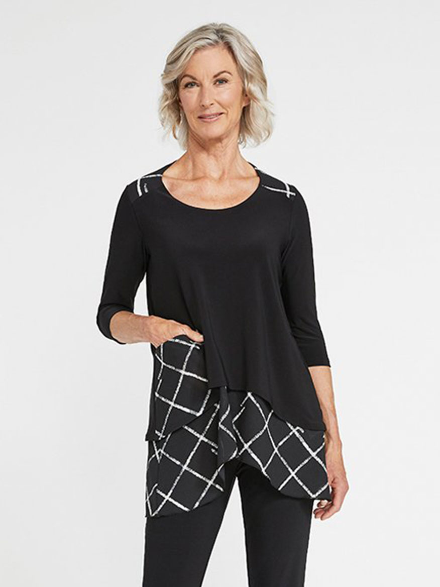 Buy Whisper Pocket Top Crosshatch Large Black Tops Larrimors.com