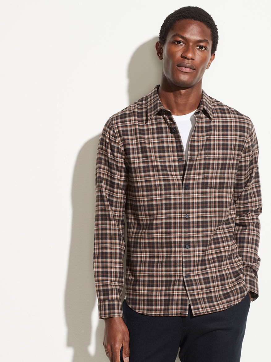Buy Brushed Plaid Long Sleeve Oak Brown Sport Shirts Larrimors.com