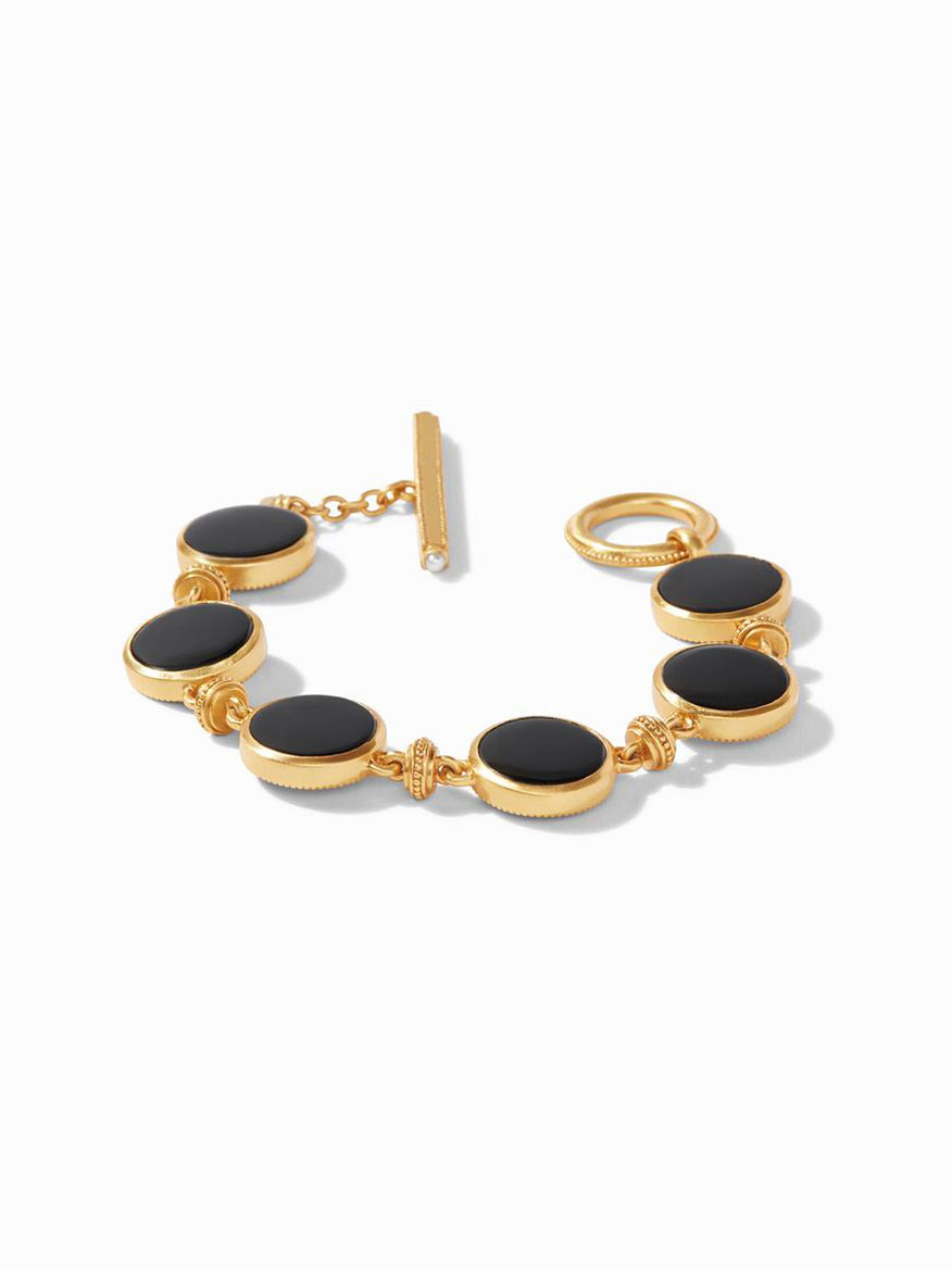 Julie Vos Coin Double Sided Bracelet in Obsidian Black
