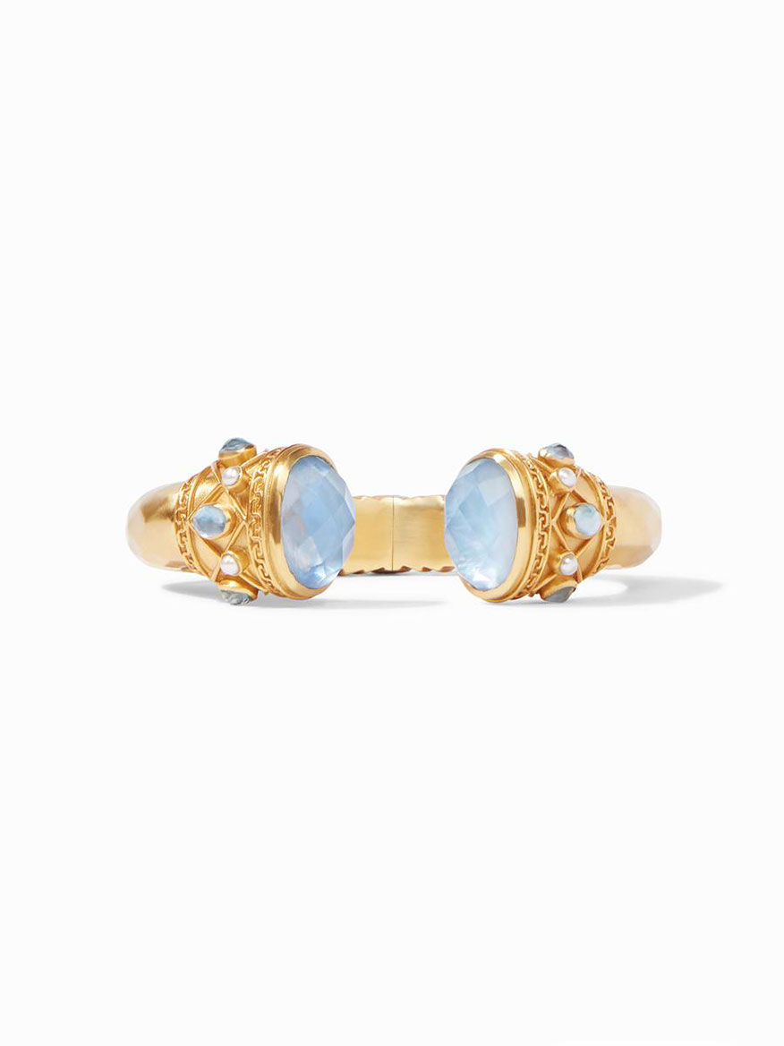 Julie Vos Savannah Hinge Cuff in Iridescent Chalcedony Blue
