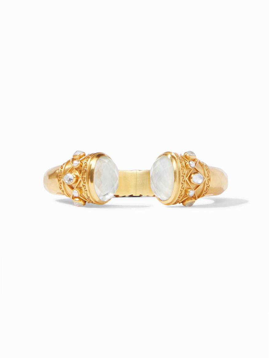 Julie Vos Savannah Hinge Cuff in Iridescent Clear Crystal