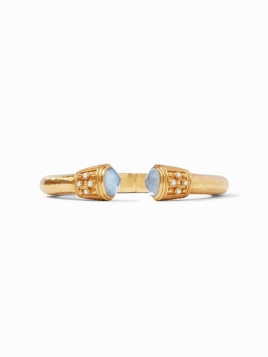 Julie Vos Paris Demi Hinge Cuff in Iridescent Chalcedony Blue