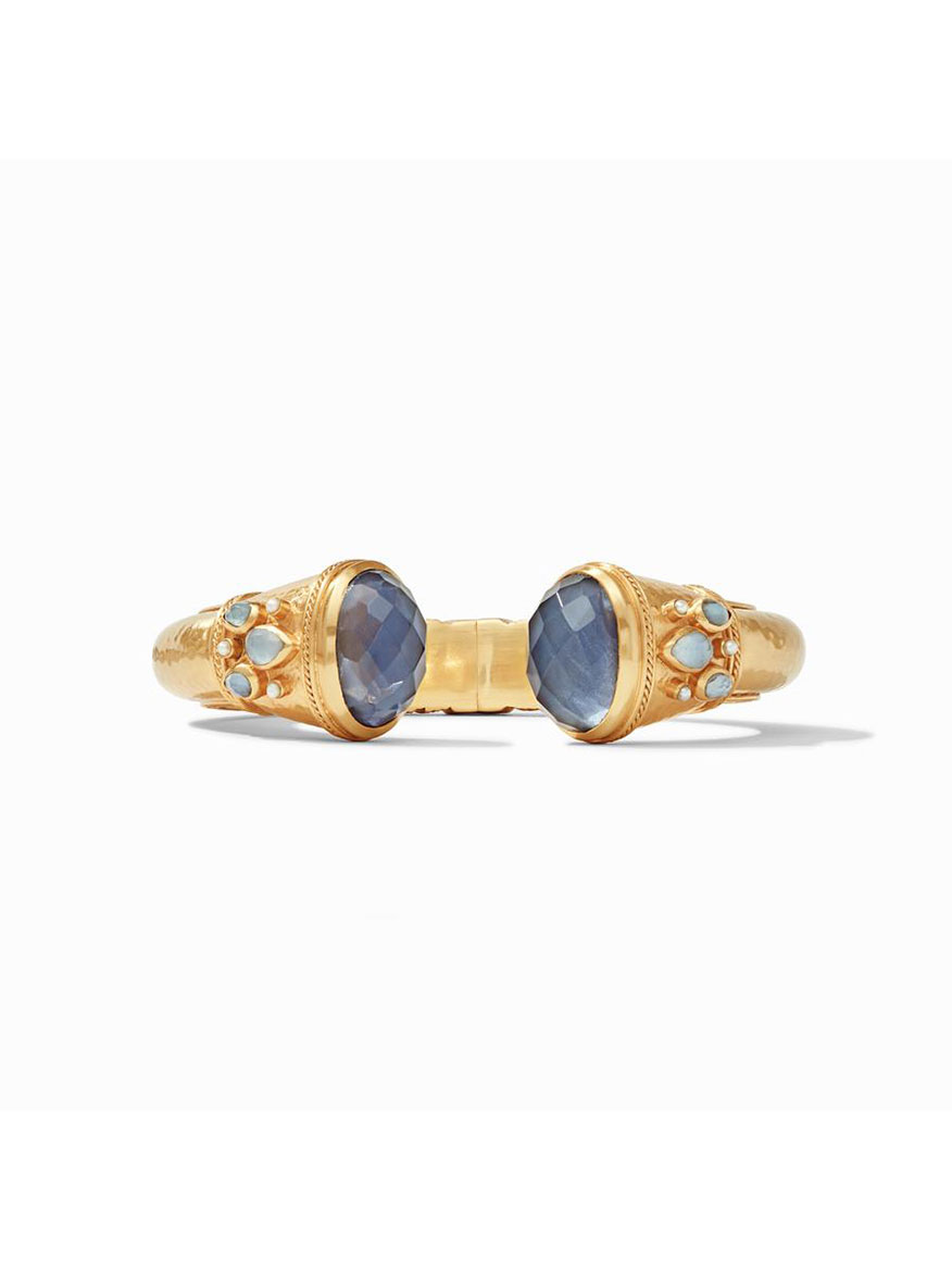 Julie Vos Cassis Hinged Cuff Bracelet in Iridescent Slate Blue