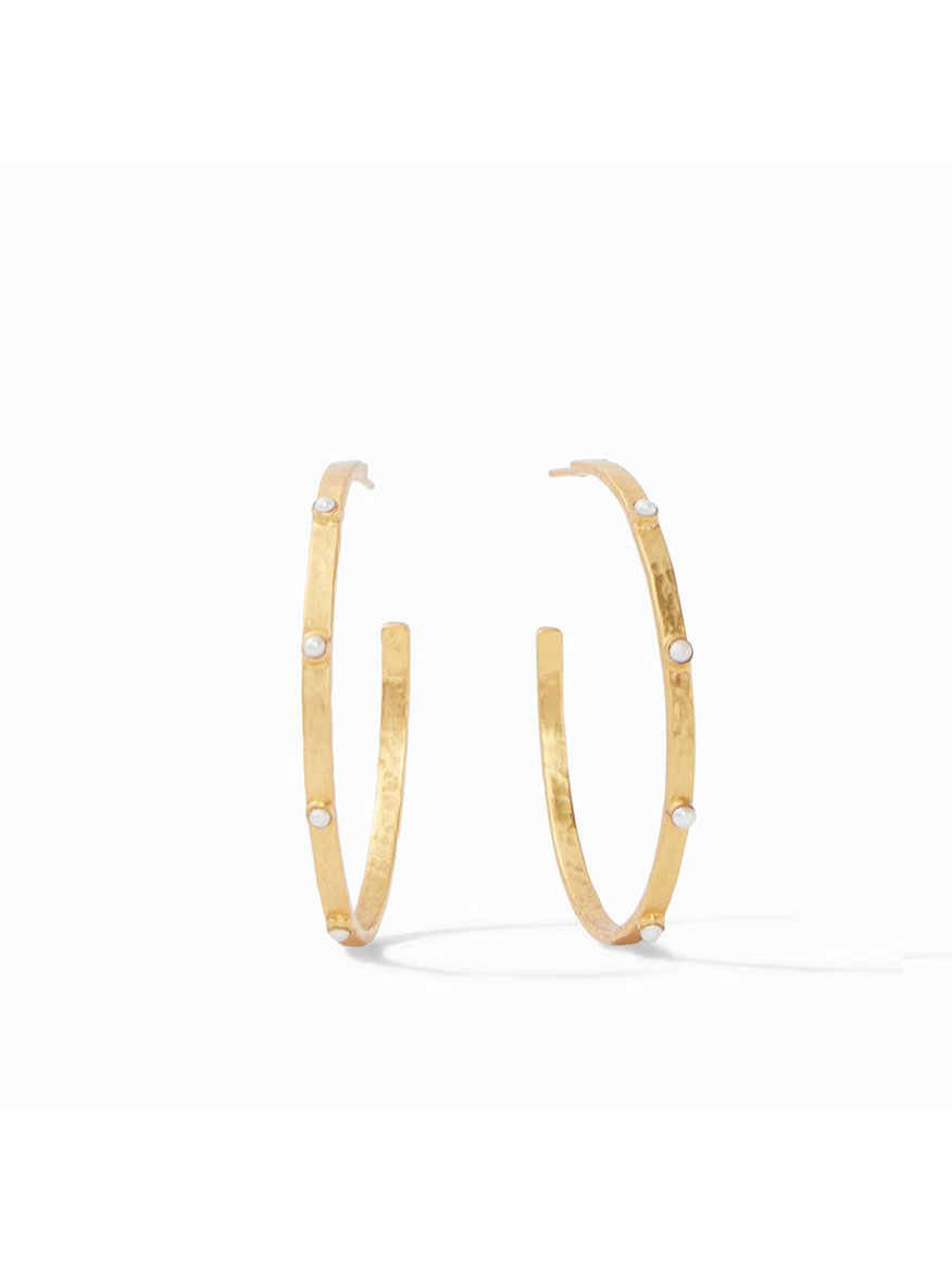 Julie Vos Crescent Stone Hoop Earring in Pearl - Large