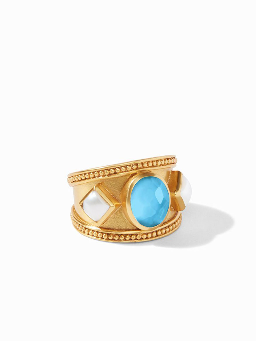 Julie Vos Loire Stone Ring in Pacific Blue & Pearl