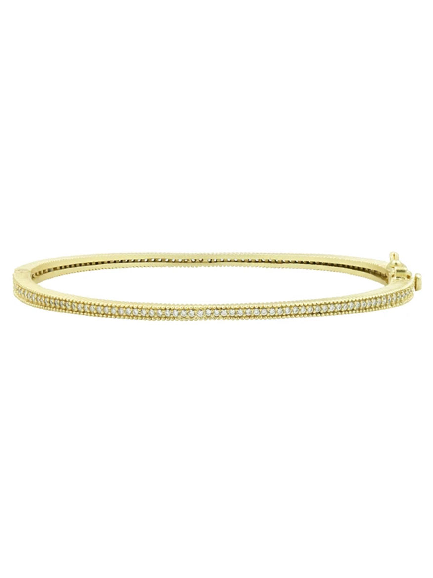 Freida Rothman Signature Thin Pavé Hinge Bangle in Gold