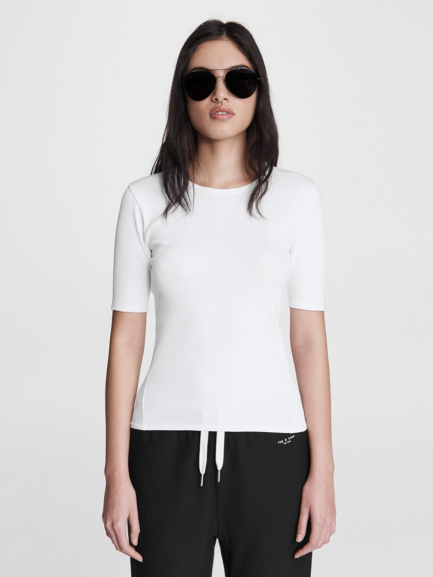 Buy The Essential Rib Tee White Tops Larrimors.com