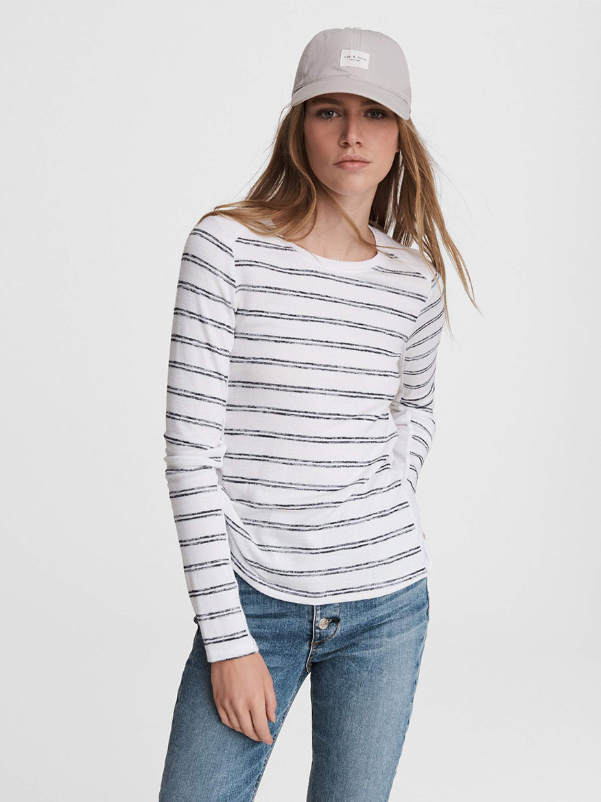 Buy The Knit Summer Striped Top Navy Tops Larrimors.com